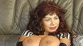 Busty amateur mom foursome with cum on tits
