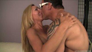 Dick addicted busty blondie Lisa DeMarco licks the balls of Dick Delaware