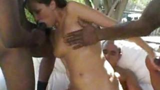 White Girl Fucks Gang of Black Men interracial