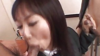 Lovely Asian Ryo enjoys giving double blowjob