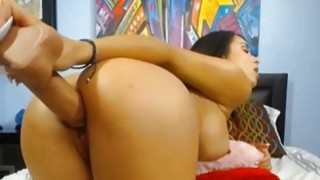 Latina Bombshell Plays with a Huge Dildo
