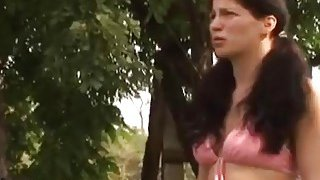 Dark haired chick riding amputee cock outdoors