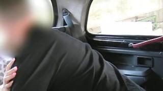 Busty blonde fucks in British cab in public
