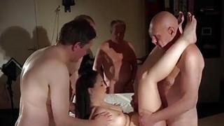 Big tits young hottie gangbang fucking 5 old men