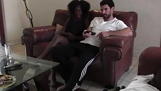 Black amateur with amazing butt sucks white dick and gets banged on leather sofa
