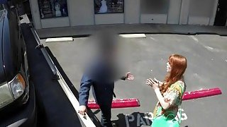 Beautiful ginger babe giving a hot POV blowjob to a tow truck driver