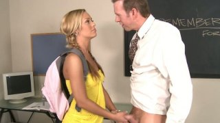Sporty blonde student with braided hair Nicole Aniston fucks doggystyle