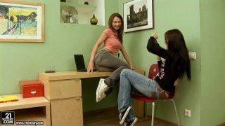Petite brunette lesbians Sonechka and Ava lick each other's boobies