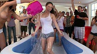 A wet T-shirt party