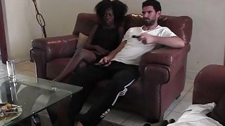 Real interracial couple bored watching TV decided to heat up homemade sex