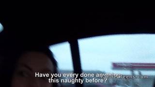 Teen bangs in leather backseat in car