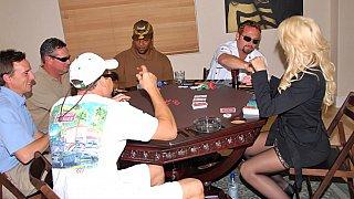 Winning blonde sexy MILF at poker