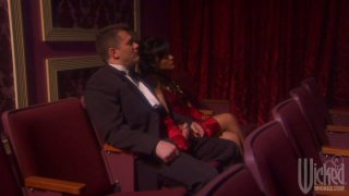 Hot brunette with pretty tits Kaylani Lei enjoys rubbing the tool in theater